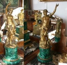 Антикварная статуэтка из бронзы — Церера и Вакх