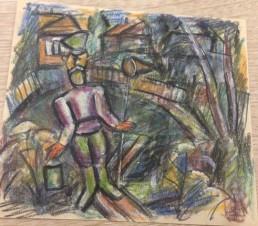 Дед в фуражке с сачком и ведром