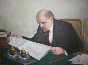 Ленин за газетой Правда