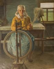 Девушка за прядением
