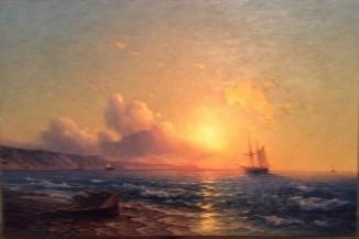 Морской залив на закате