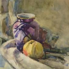 Натюрморт с вазой и яблоком
