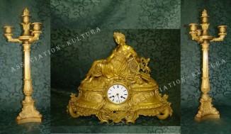 Каминный гарнитур «МУЗА» — часы с канделябрами