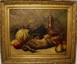 Натюрморт с фруктами, медным кувшином и дичью