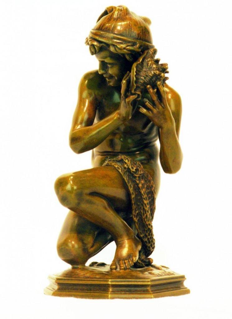 мальчик рыбак скульптура
