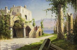 Итальянский пейзаж с домом на побережье