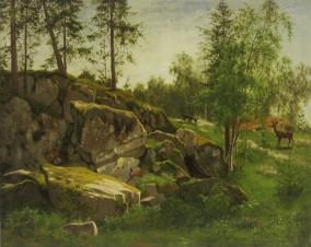Пейзаж с оленями в лесу