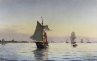 Морской пейзаж на закате солнца