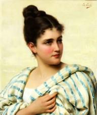 Итальянка в бело-голубой шали