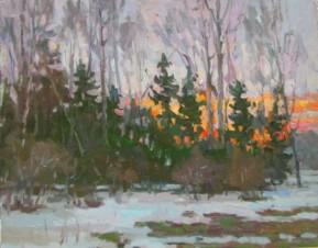 Зимний лес.Закат солнца.
