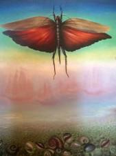 Пейзаж с бабочкой и улитками