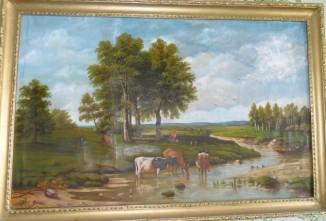Стадо у реки в полдень