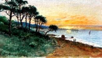 Пейзаж с деревьями на берегу