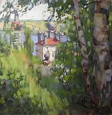 Летний пейзаж с церковью