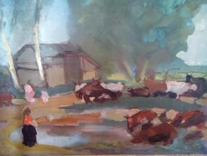 Коровы у деревенского пруда
