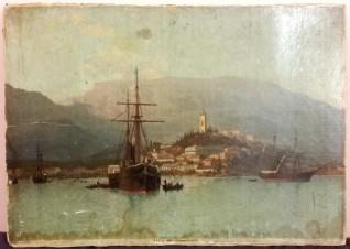 Ялта с моря. Литография с картины Лагорио Л.Ф. 1883 г.
