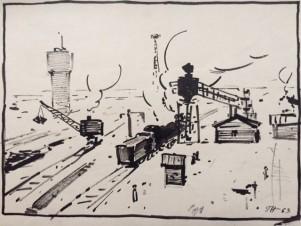 Загрузка угля в паровоз
