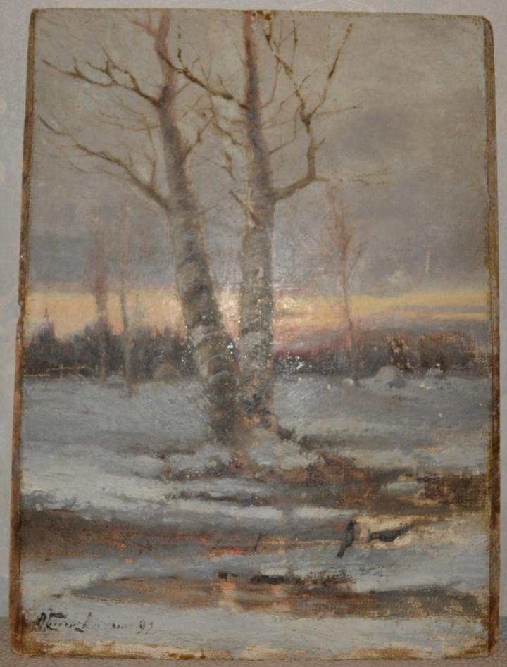 Пейзаж. Грачи в зимнем лесу