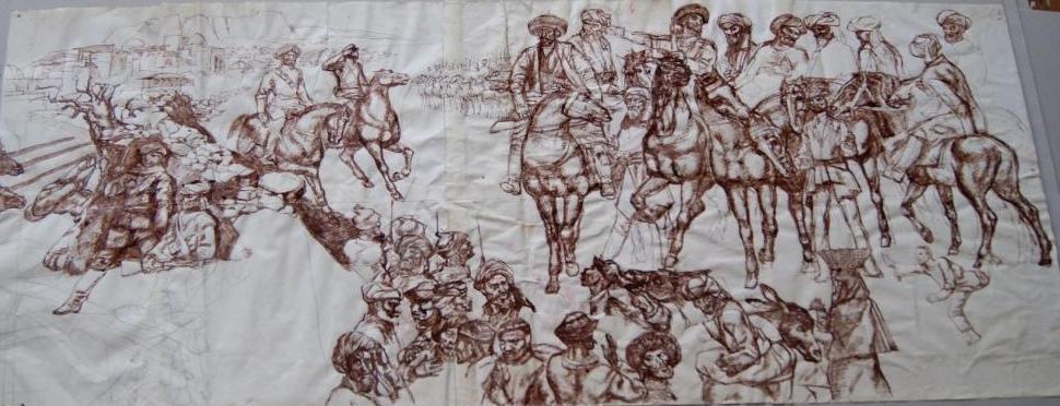 Басмачи (эскиз к картине ПЕРЕХОД МАД-АМИН БЕКА НА СТОРОНУ СОВЕТСКОЙ ВЛАСТИ)