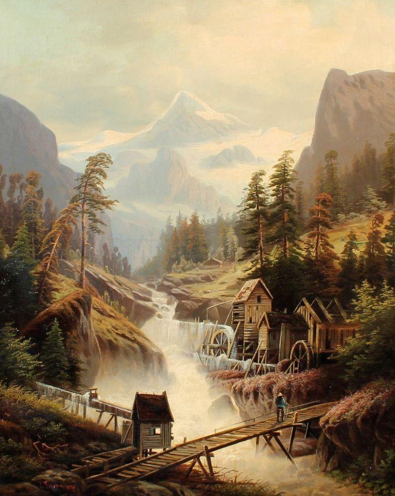 Альпийский пейзаж с мельницей