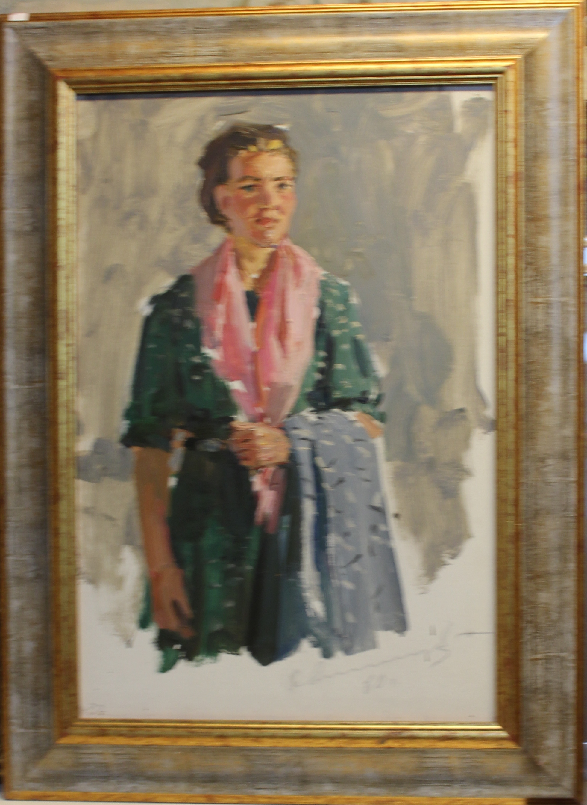 Портрет девушки в розовом платке