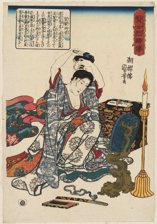Японская гравюра укиё-э «Кеса Гозэн, отстригающая волосы»