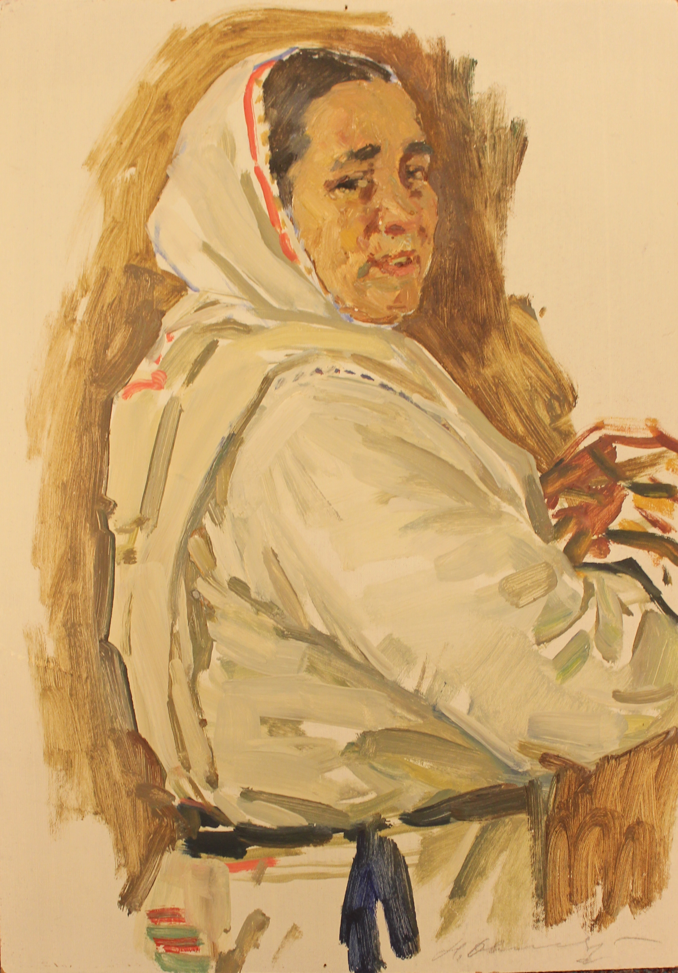 Портрет деревенской бабы в платке