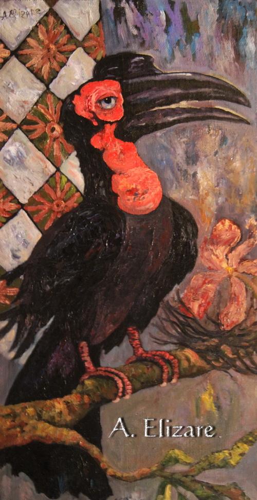 Гигантский краснозобый ворон