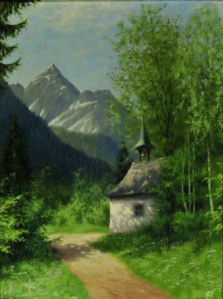 Лесной пейзаж с видом на горы