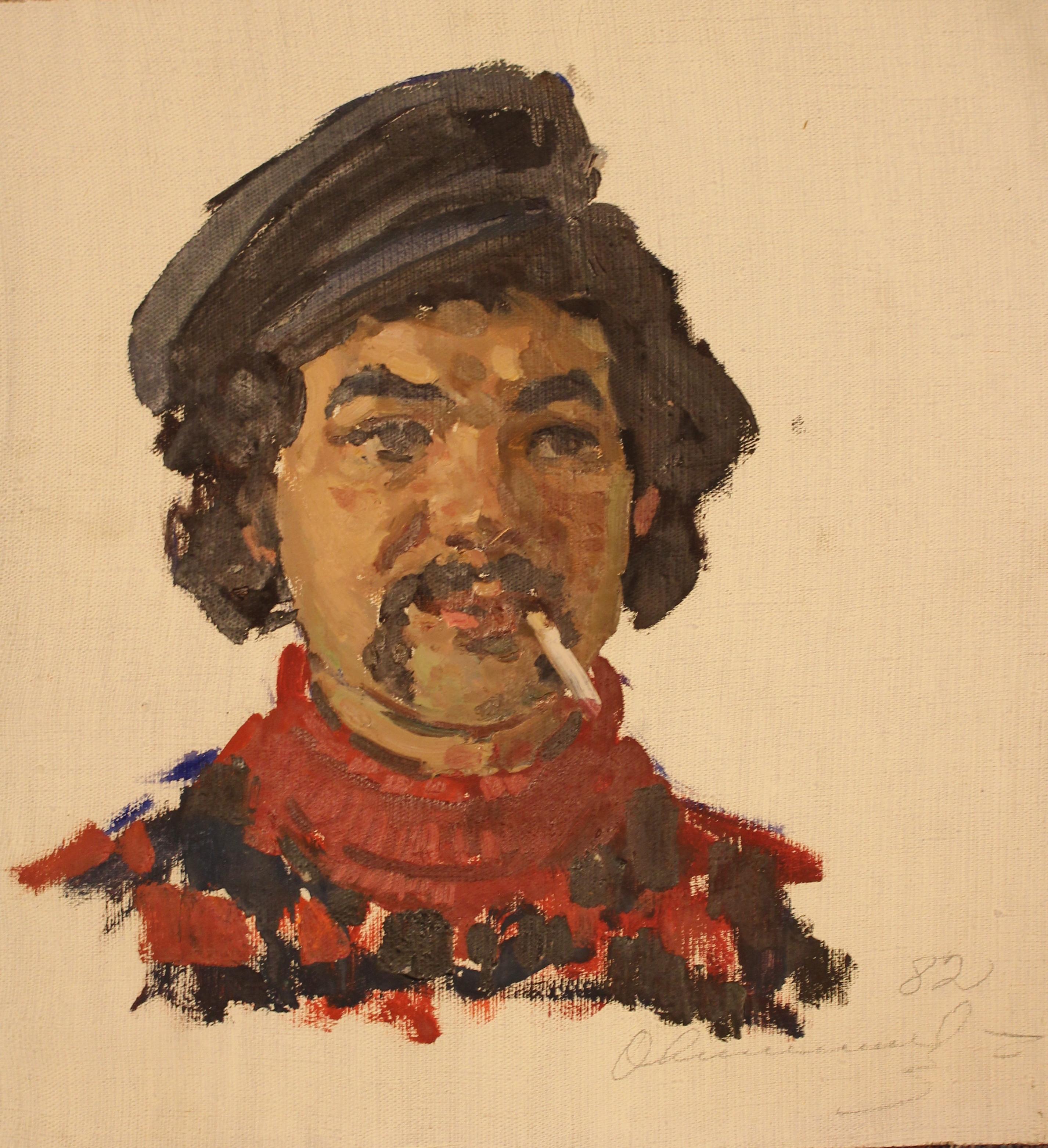 Портрет мужчины с усами и сигаретой