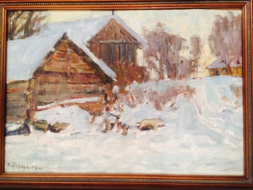 Зимние сугробы. Деревня под Вышним Волочком