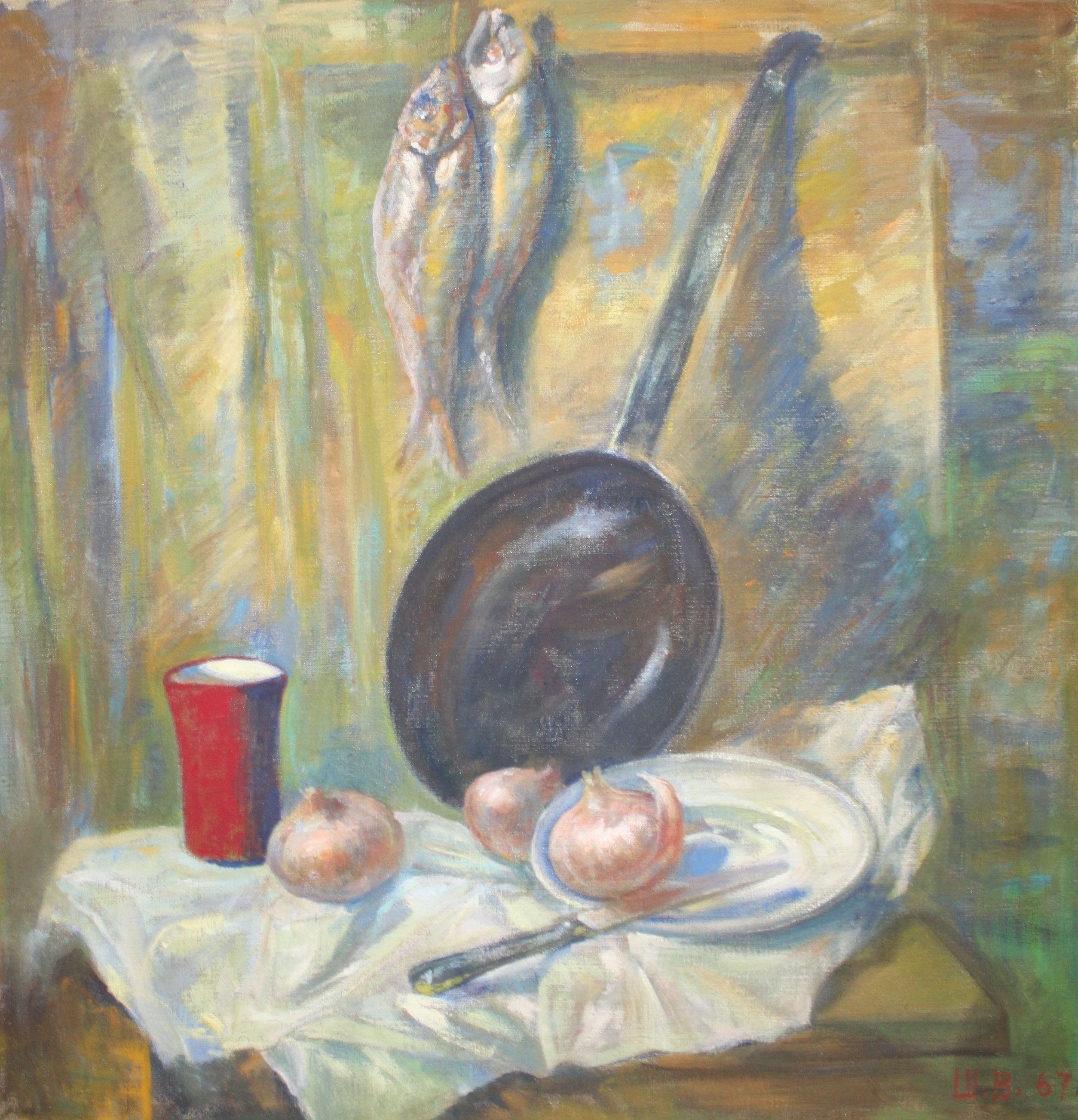 Натюрморт с луковицами и рыбой