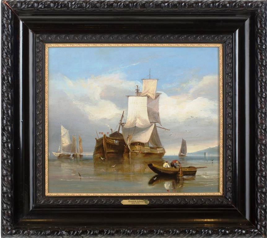 Парусник с лодкой и рыбаками