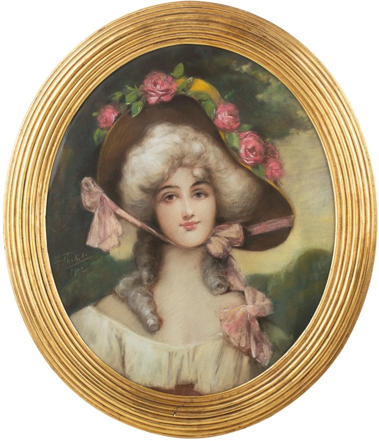 Девушка с розами на шляпе