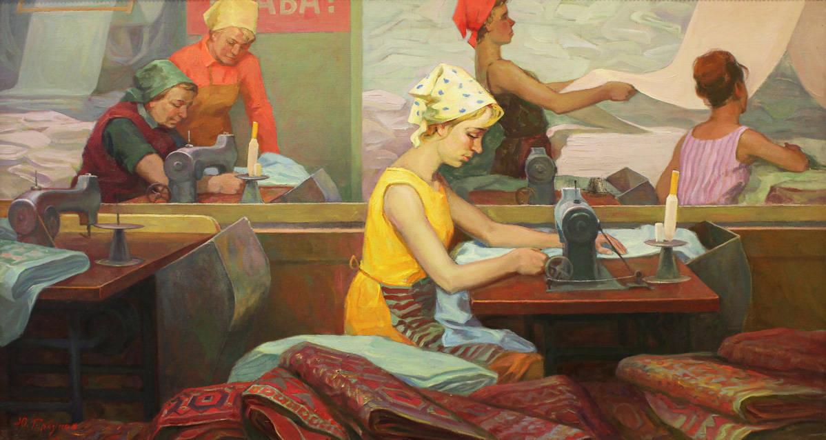 Текстильщицы в отделочном цеху. Кострома