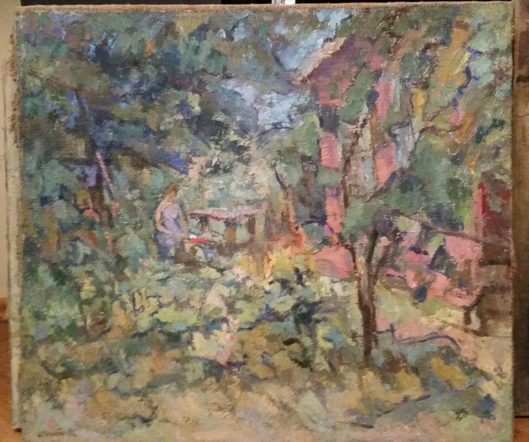 Пейзаж с домом в голубом