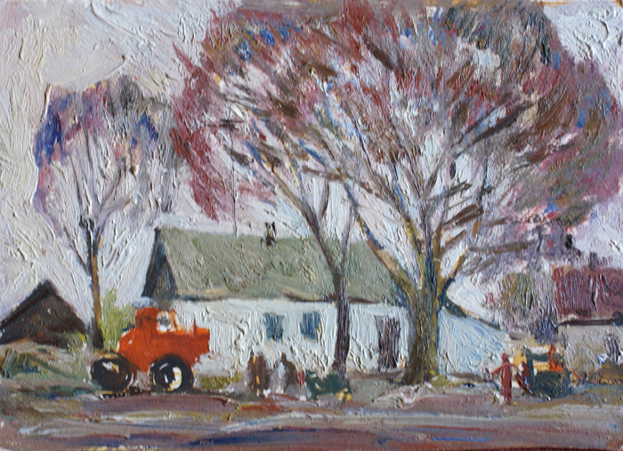 Пейзаж с красным трактором