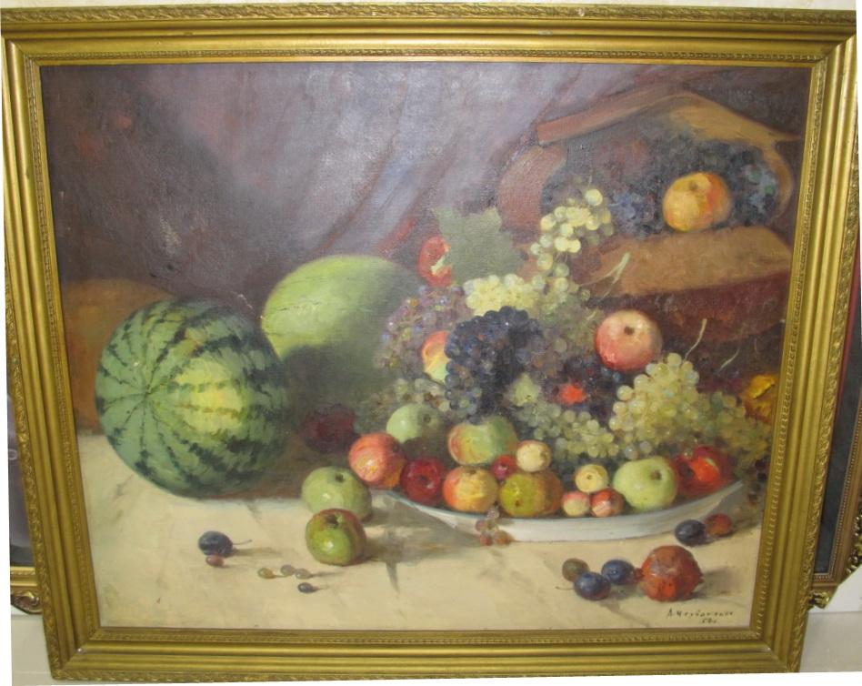 Натюрморт с арбузами и виноградом