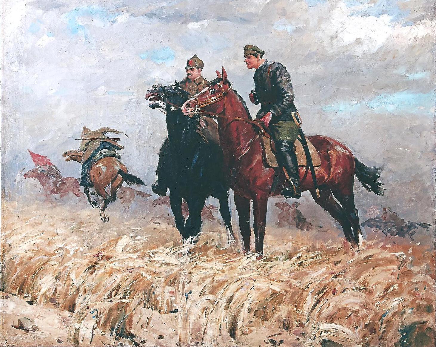 Всадники-красноармейцы. Сцена из Гражданской войны.