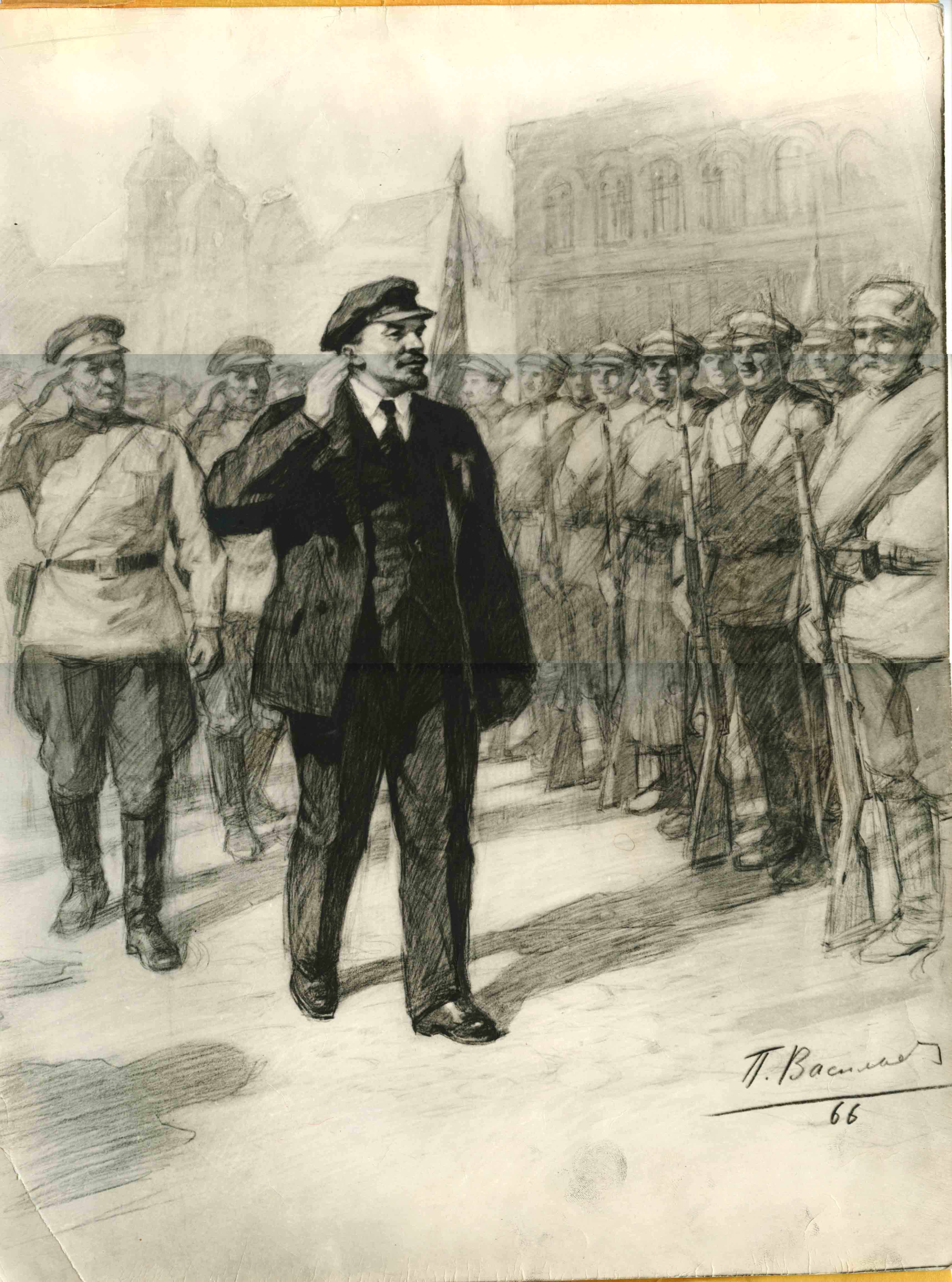 В.И. Ленин приветствует красноармейцев на Красной площади