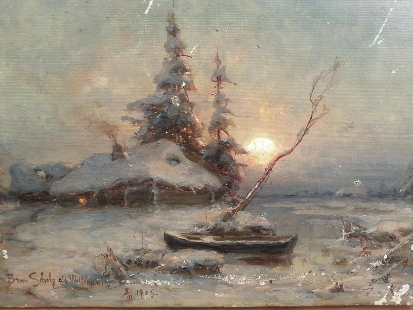 Пейзаж с домиком и лодкой