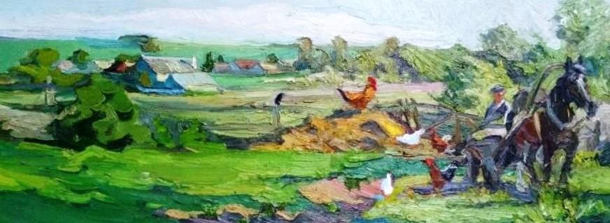 Сельский пейзаж с лошадкой