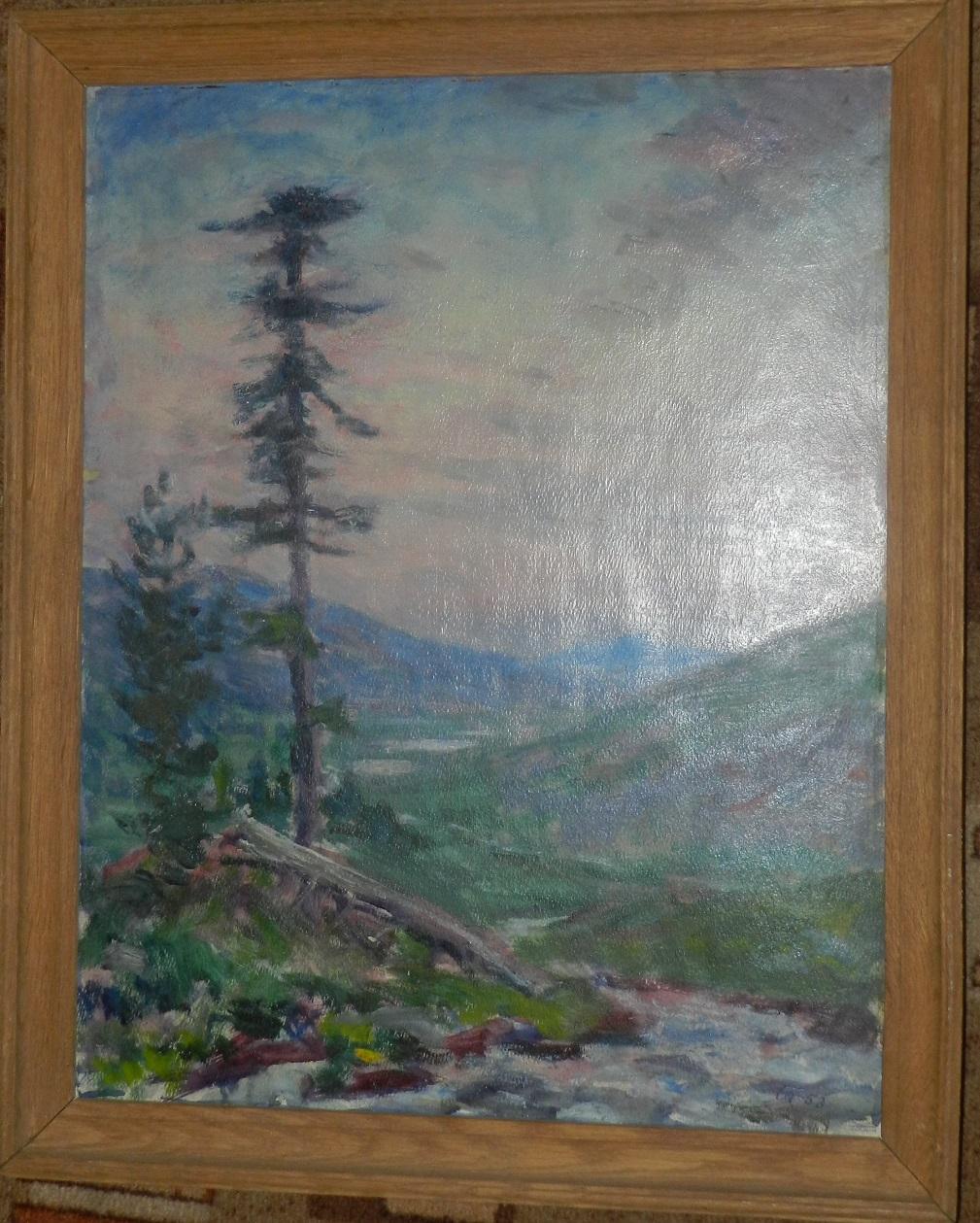 Алтай. Пейзаж с лиственницами.