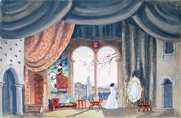 Эскиз декорации к спектаклю «Девушка с кувшином» по одноименному произведению Лопе де Вега