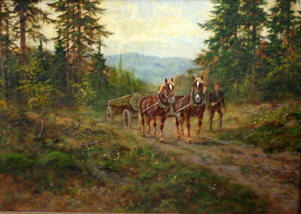 Повозка с дровами в лесу