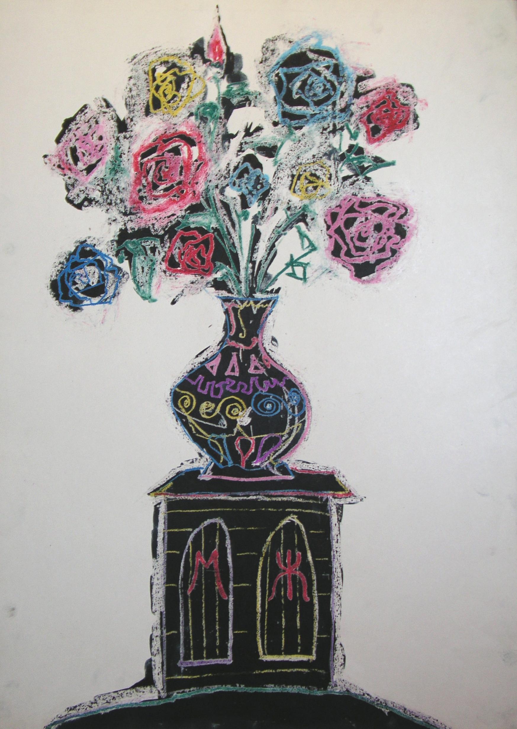 Ваза с цветами на тумбе МЖ