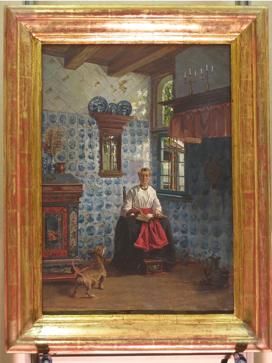 Дама с книгой у окна