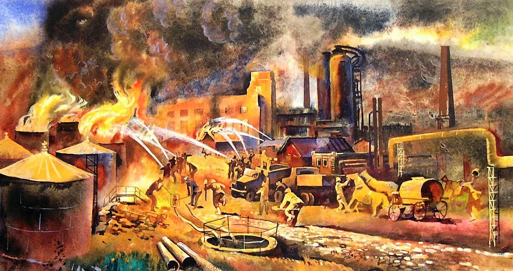 Тушение пожара на нефтеперегонном заводе в Грозном