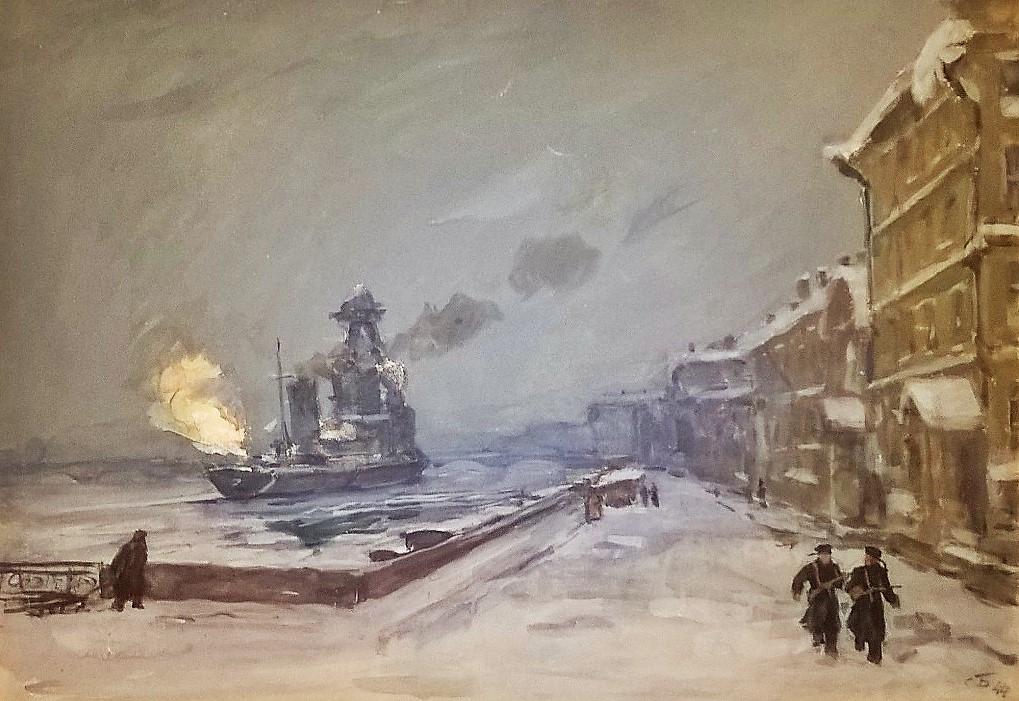Крейсер «Киров» ведет огонь в январе 1944 года с набережной лейтенанта Шмидта.