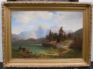 Альпийский пейзаж с озером